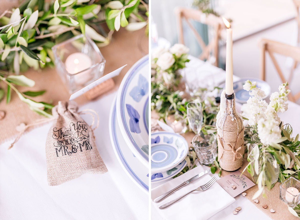 Rustic wedding favours and centerpieces