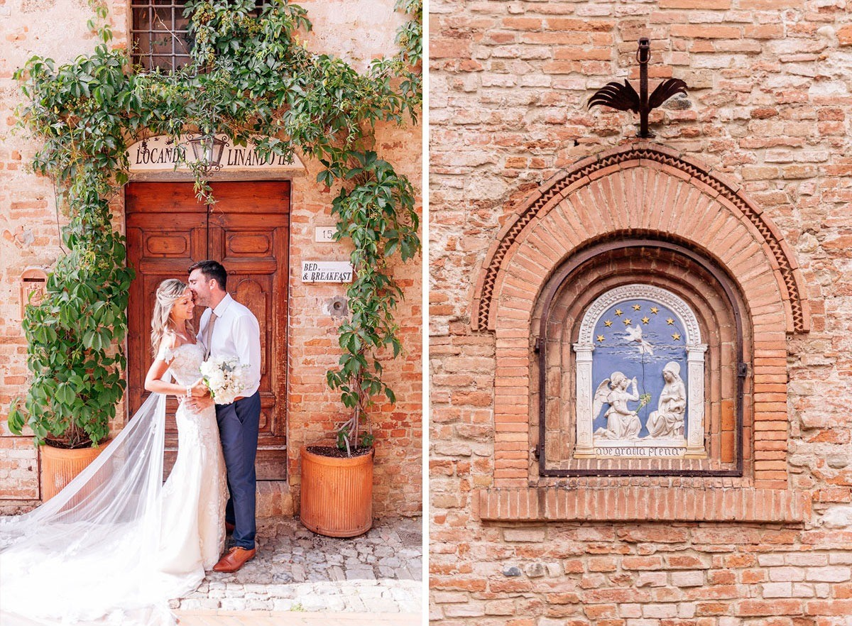 Sweet moments with the bride and the groom in an ancient burg near Florence