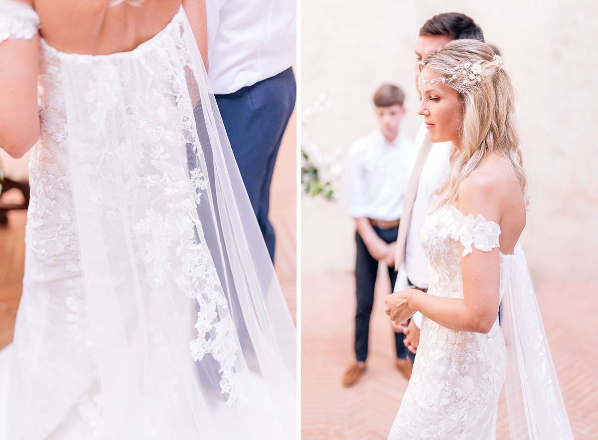 Details of the bride's dress in Tuscany