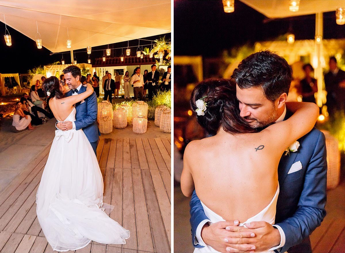 Romantic first dance by the sea
