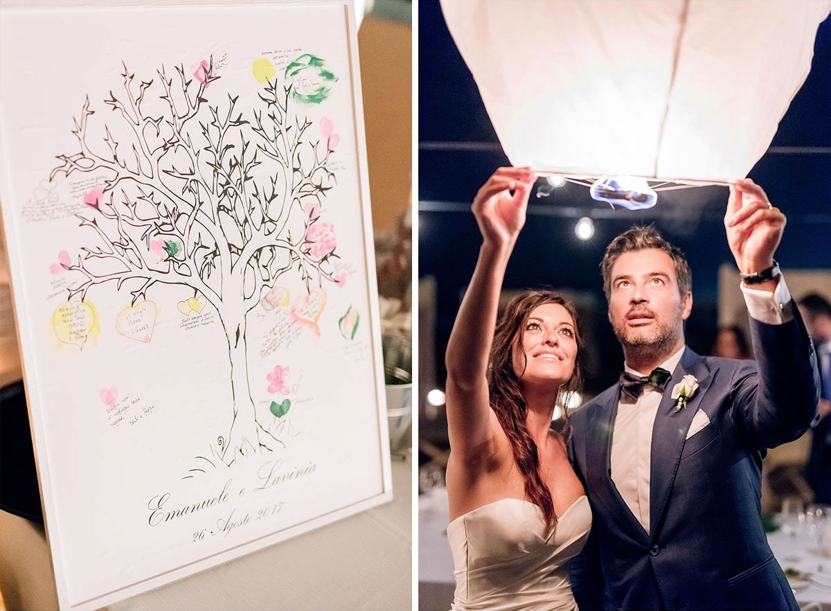 Wedding flying lanterns and wedding guestbook