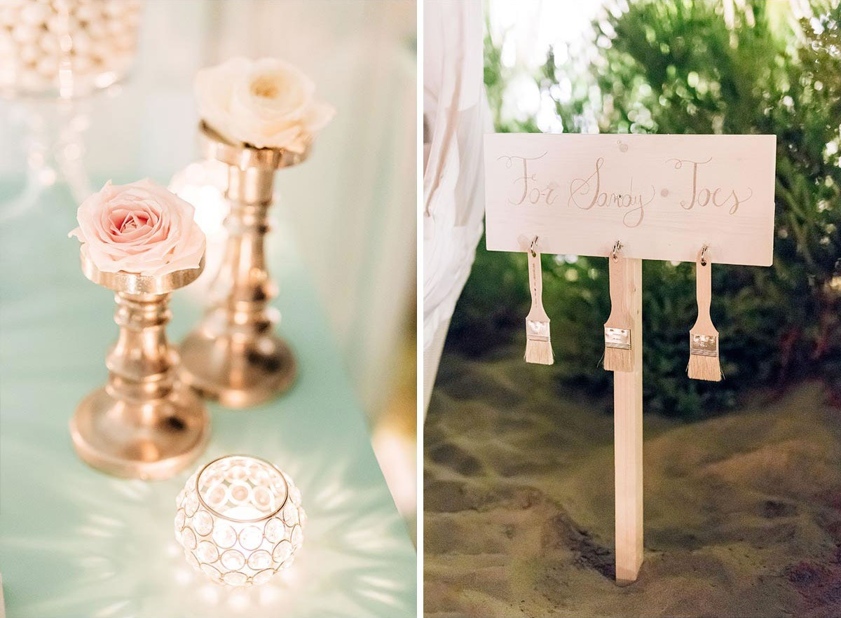 Wedding details for a beach wedding in Tuscany