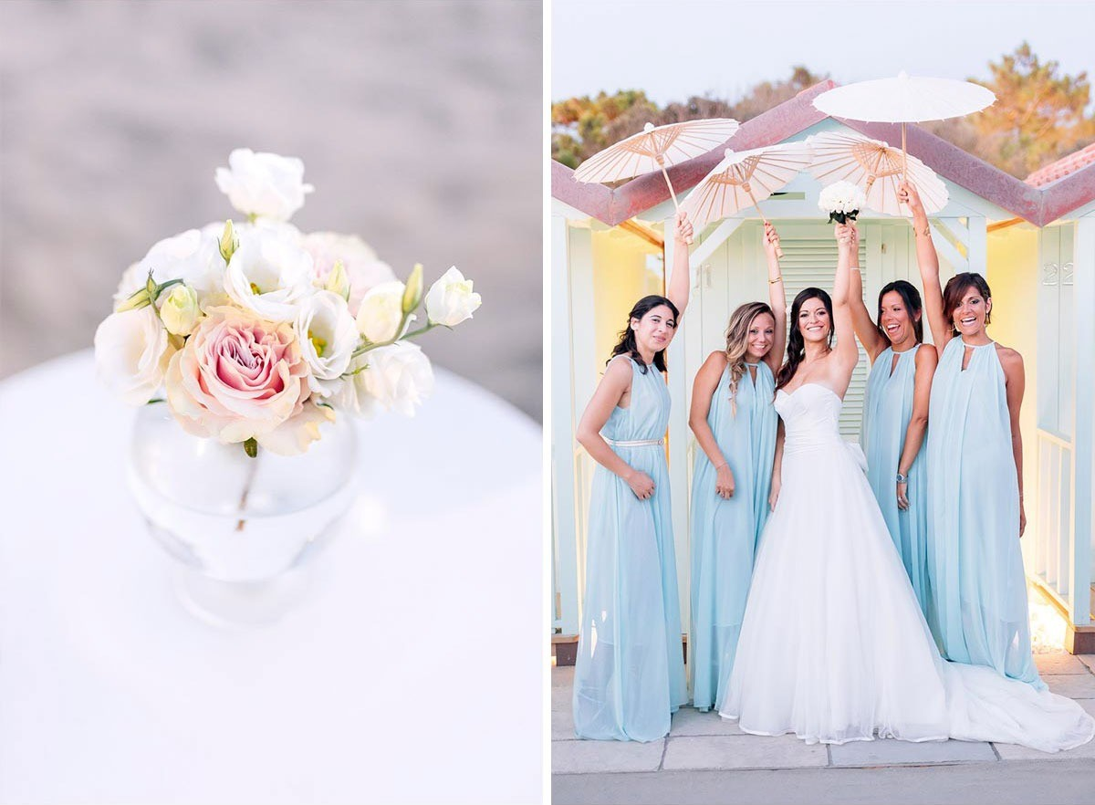 Teal bridesmaids with the bride