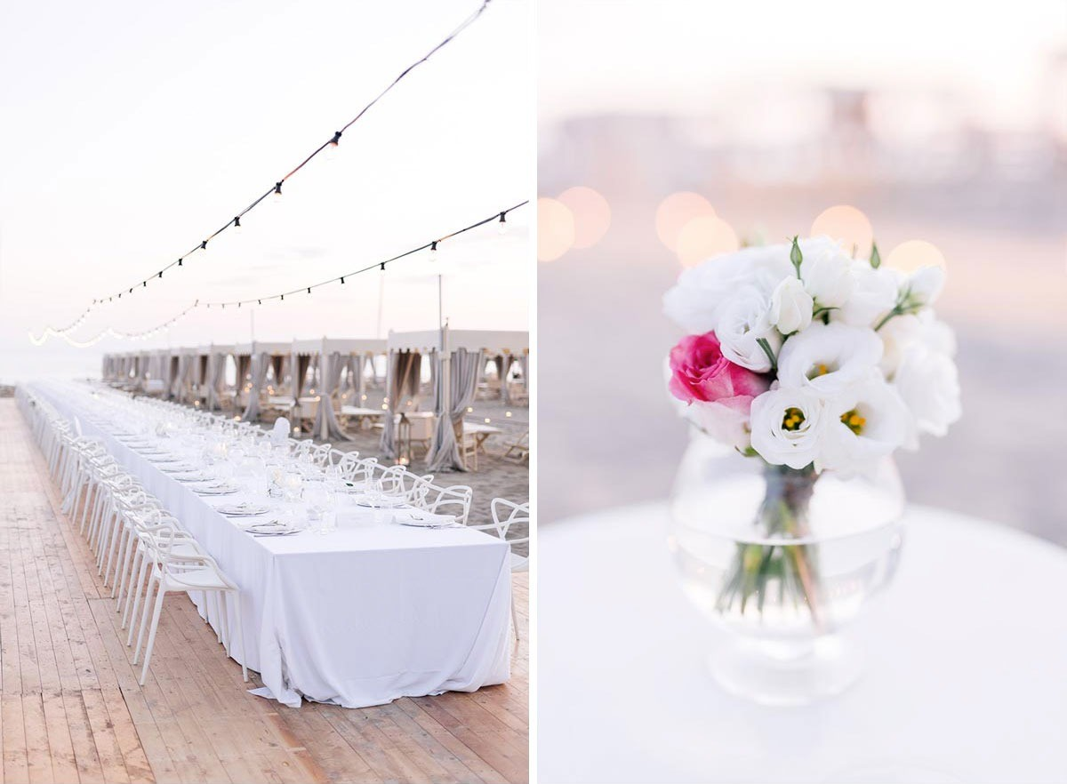 Elegant imperial wedding table with string lights in Tuscany