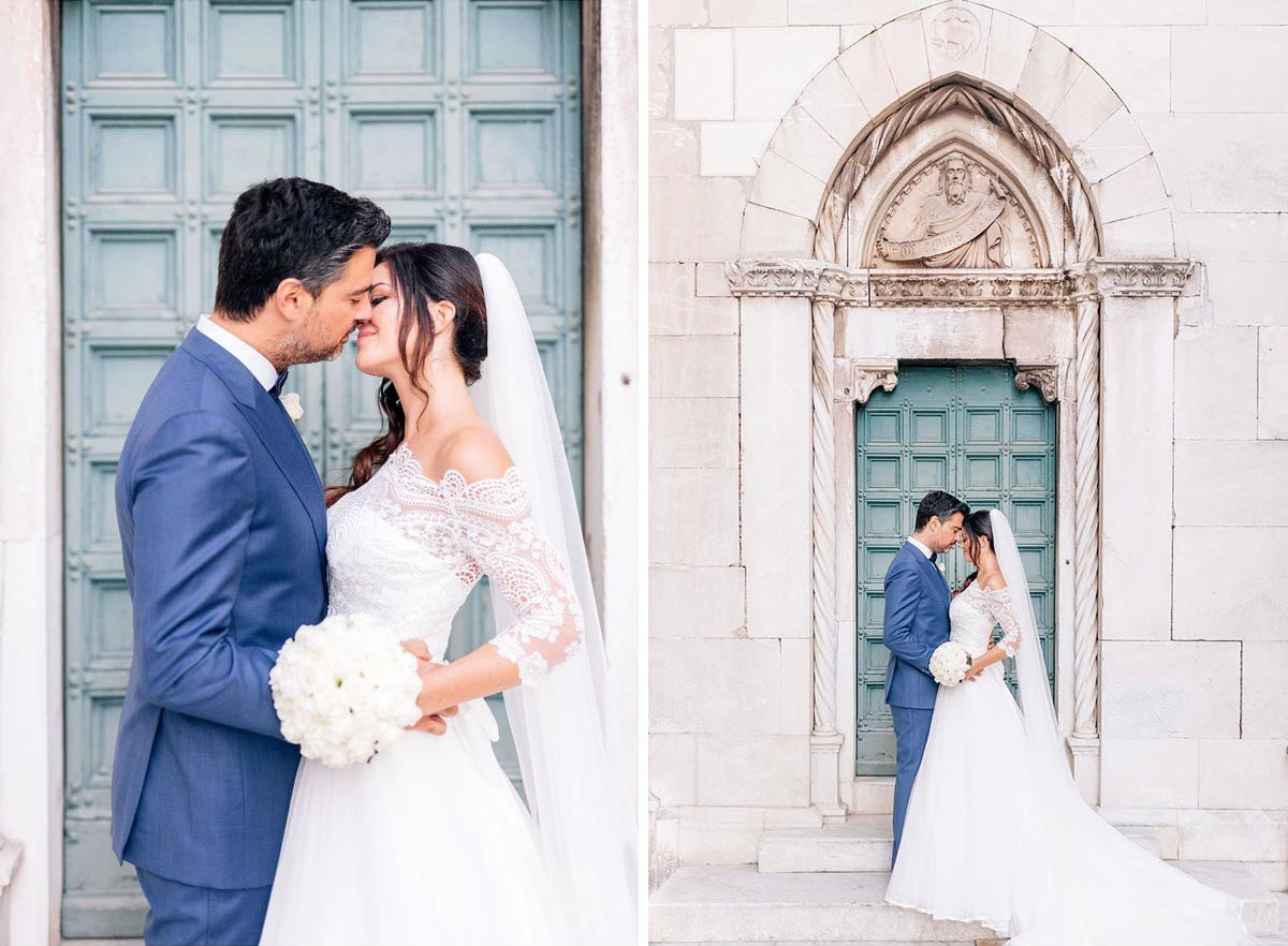Wedding photographs of the bride and groom by the beautiful Basilica di Pietrasanta in Tuscany