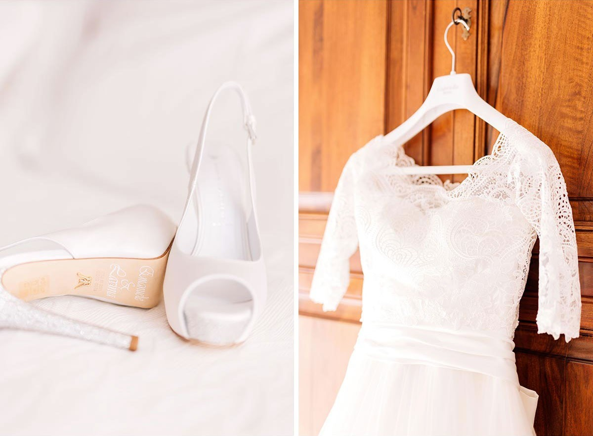 Wedding dress and shoes in Tuscany