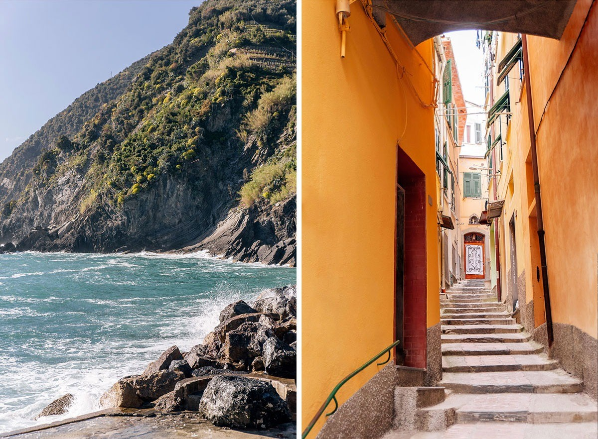 Streets of Vernazza and Cinque Terre sea