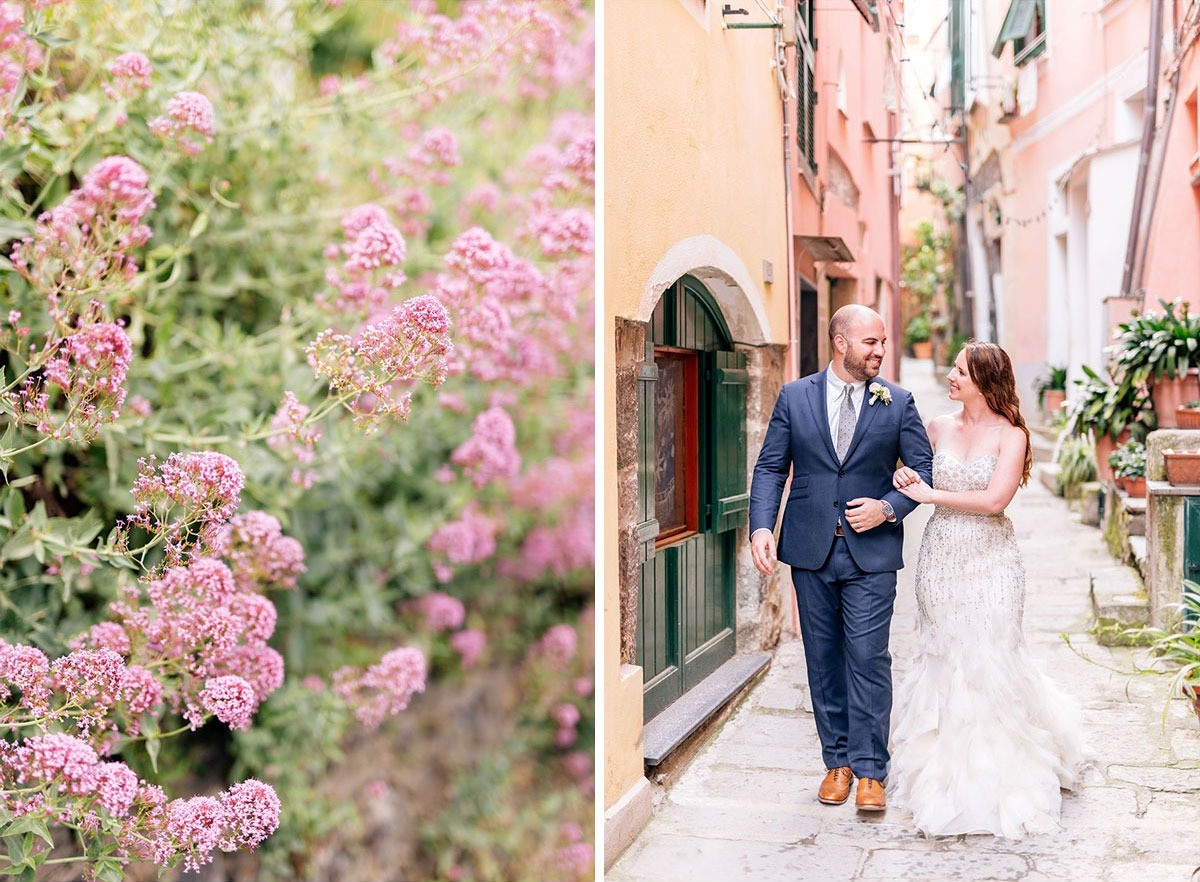 Bride and groom walking through the streets of Vernazza for their elopement