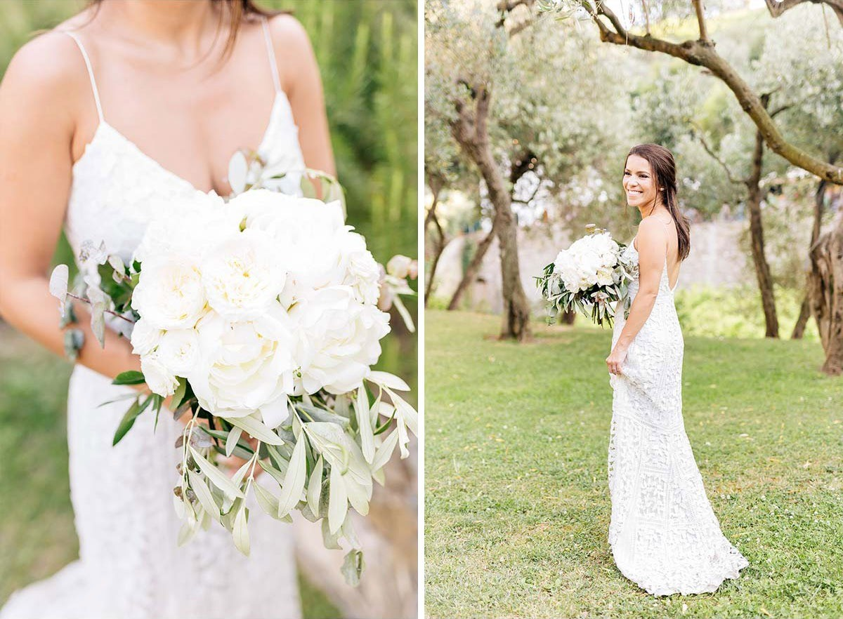 White peonies wedding bouquet with olive trees in Cinque Terre