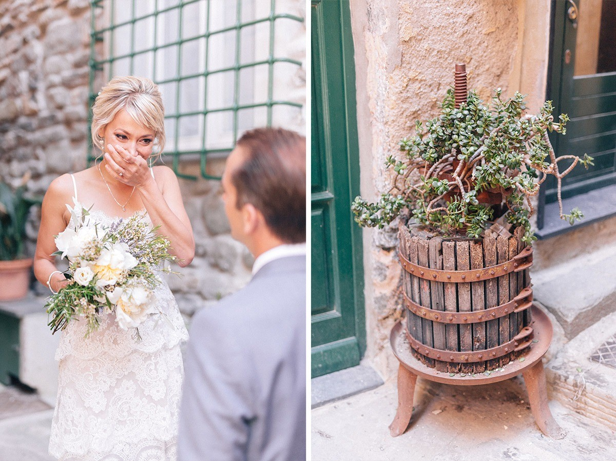 Emotional first look in Vernazza
