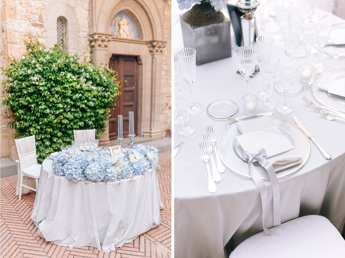 The bride and groom table in a Castle in Chianti