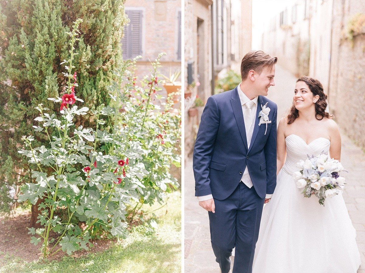 Wedding photos of the bride and the groom in Tuscany