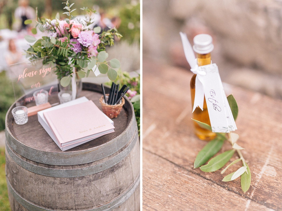 Olive oil wedding favour in Italy