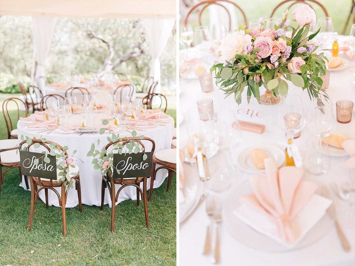 Wedding reception with pale pink and brass colours