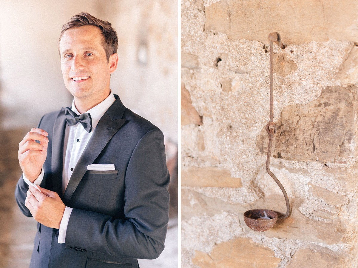 groom in black suit and bowtie in monterosso al mare