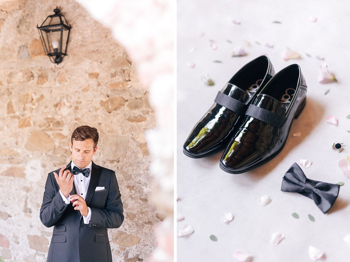 groom's shoes and bow tie in cinque terre