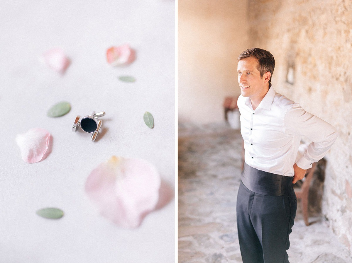 groom's cuff links and black suit in monterosso al mare